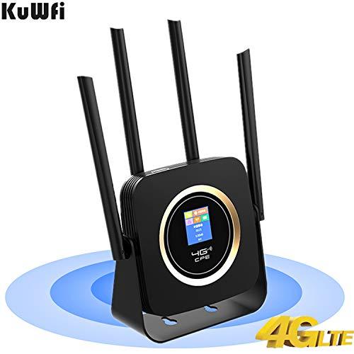 Mobiler WLAN Router, LTE Router 4G CPE WLAN Router mit 3000Mah Akku SIM Karte LTE/FDD WLAN Router Hotspot Modem Externe Antenne