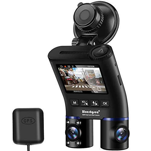 Dual Dash Cam with GPS, Blueskysea B2W HD Double Rotatable Lens Car Driving Recorder Camera with IR-Cut Filter IR Night Vision Front Rear View 2'' Screen 32GB SD Card for Uber Rideshare Lyft Driver