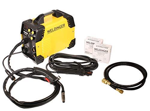 Komplettset WELDINGER ME 180 mini MIG/MAG-Schweißgerät je 1x Schweißdraht SGII 0,6/0,8 mm Gasschlauch Elektrodenkabel