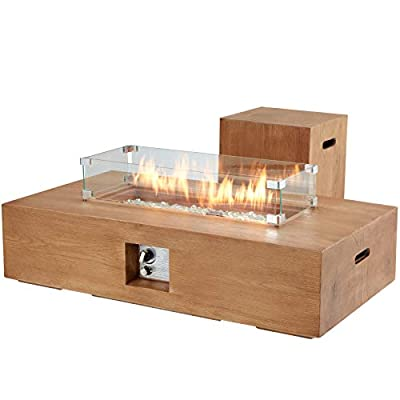 ECOTOUGE 48Inch 2-Piece Outdoor Propane Gas Fire Pit Table, 50,000 BTU Auto-Ignition Rectangular Fire Table w/ Tank Holder, Wind Guard, Weather-Resistant Waterproof Cover, Glass Stone