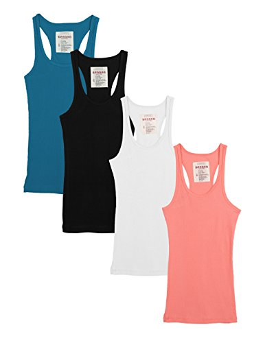 Zenana Outfitters 4 Pack Womens Basic Ribbed Racerback Tank Top (Small, 4 Pack - Black White Coral Jade)