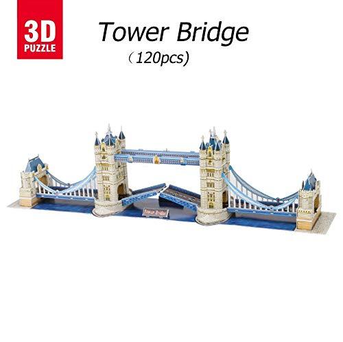 3D puzzle Tower Bridge, Puzzles 3D Edificio 3D Model Puzzle,Regalos Y Souvenirs para Adultos Y Niños,Juguetes Educativos Que Pueden Interactuar con Niños