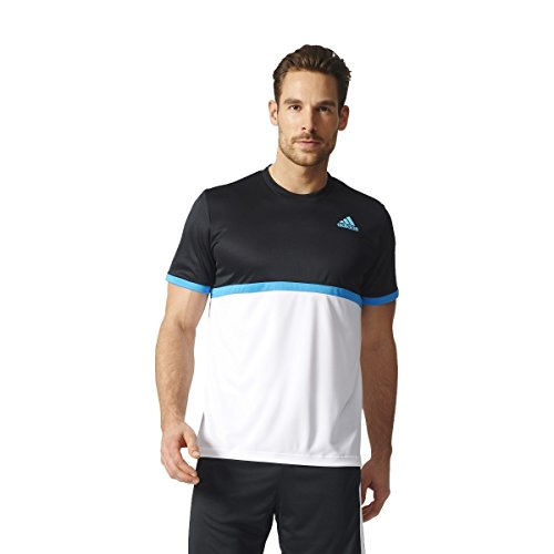 adidas Herren T-Shirt Court, Black/White/Samba Blue, M, BK7043