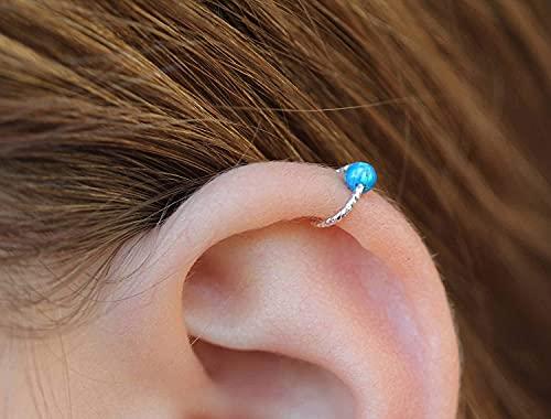 Cartilage Earring Hoop - 20G Sterling Silver helix piercing ear ring - Blue opal cartilage earring, silver cartilage hoop