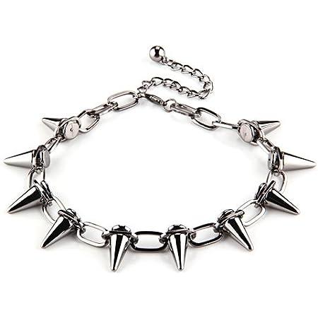 Gleader Collar Cadena Metal Eslabones Remaches Pincho Punk Moda