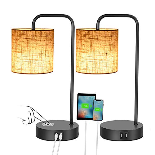 Set of 2 Industrial Touch Control Table Lamps with 2 USB Ports and, Sunvook 3-Way Dimmable Bedside Nightstand Reading Lamps with Fabric Shade for Bedroom Living Room Office 2 LED Bulbs Included