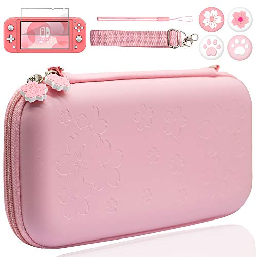 BRHE Cute Switch Lite Case Travel Carrying Bundle Kit Hard Portable Protective Cover Shell Accessories with Glass Screen Protector Thumb Grip Caps for Switch Lite (Pink)