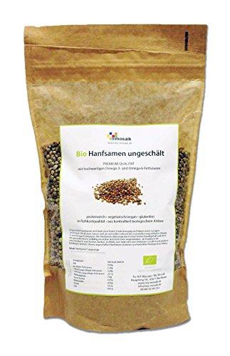 my-mosaik Bio Hanfsamen ungeschält (500g), nährstoffreich und vegan, Low Carb, essentielle ungesättigte Omega-3- und Omega-6-Fettsäuren
