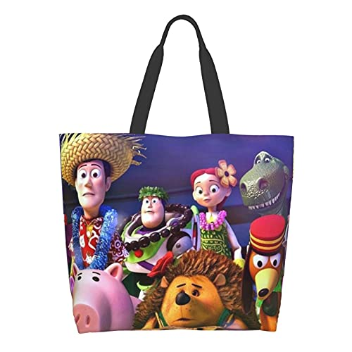 Cartoon Toy Story Anime Bolsa de hombro Bolsas de compras Bolsa de lona multiusos de gran capacidad Bolsas de ordenador portátil