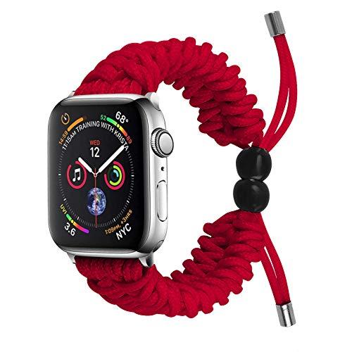 Jennyfly Compatible con Apple Watch Band 44 mm 42 mm, correa de repuesto trenzada deportiva para muñecas de 5.9 a 8.6 pulgadas, compatible con iWatch Series 6/5/4/3/2/1 42 mm/44 mm, color rojo