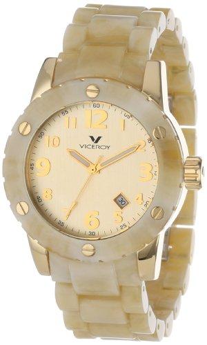 Viceroy 47668-95 Carey reloj de pulsera para hombre de acero inoxidable chapado en oro amarillo ionizado, pulsera de plástico beige con fecha