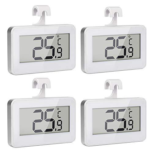 Maxjaa Kühlschrankthermometer 4er-Pack LCD-Display Digitales Kühlschrankthermometer Wasserdichtes Kühl- / Gefrierkochthermometer mit magnetischem Rückenhaken Einziehbarer Ständer (CR2032 Batterie)