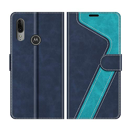 MOBESV Handyhülle für Motorola Moto E6 Plus Hülle Leder, Motorola Moto E6 Plus Klapphülle Handytasche Hülle für Motorola Moto E6 Plus Handy Hüllen, Modisch Blau