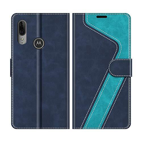 MOBESV Handyhülle für Motorola Moto E6 Plus Hülle Leder, Motorola Moto E6 Plus Klapphülle Handytasche Case für Motorola Moto E6 Plus Handy Hüllen, Modisch Blau