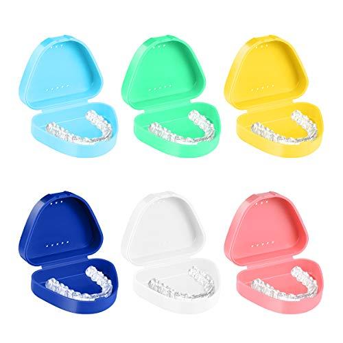 Healifty Zahnspangendose 6PCS Prothesendose Prothesenbox Zahnprothesendose Zahnspangendosen Kieferorthopädische Prothese Teeth Box(6 Farben)