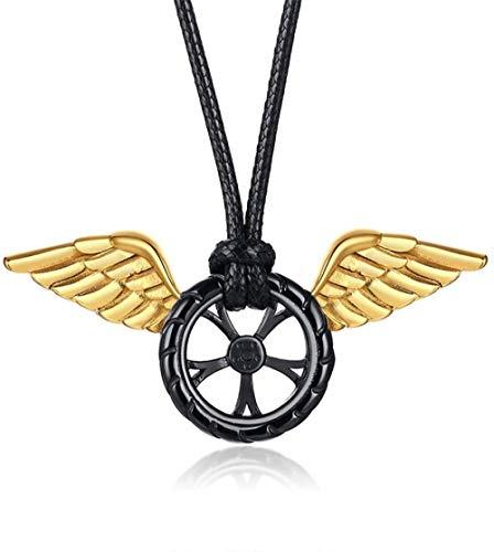 NC122 Anhänger Halskette Film Speeding Life Autoreifen Männer Edelstahl Angel Wings Einfach Kreativ Verschiedene Trend Schmuck