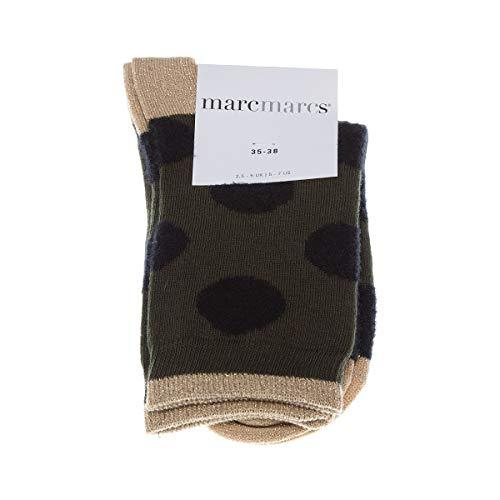 Marcmarcs Socke mittelhoch - 1 paar - Flachnaht - Bunte Spitze - Fine - Coton - Kaki - Ada cotton - 39/42