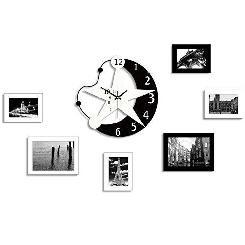 Relojes De Pared Personalidad Luna Estrellas Cartoon Reloj De Pared Creativa Moderna Habitación Niños Dormitorio Mesa Reloj De Pared Foto Decorativa Sala De Estudio, Sala De Estar, Dormitorio, Desp