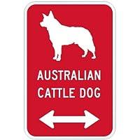 AUSTRALIAN CATTLE DOG マグネットサイン レッド:オーストラリアンキャトルドッグ(小) シルエットイラスト&矢印 英語標識デザイン W.