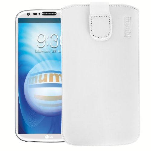 mumbi Echt Ledertasche kompatibel mit LG G2 Hülle Leder Tasche Case Wallet, Weiss