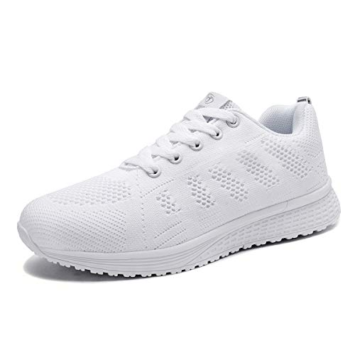 Youecci Zapatillas de Deportivos de Running para Mujer Deportivo de Exterior Interior Gimnasia Ligero Sneakers Fitness Atlético Caminar Zapatos Transpirable Blanco 38 EU