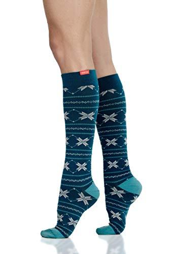 VIM & VIGR - Calcetines de compresión para mujer y hombre (15 – 20 mmHg, color verde azulado oscuro, pantorrilla pequeña/media)