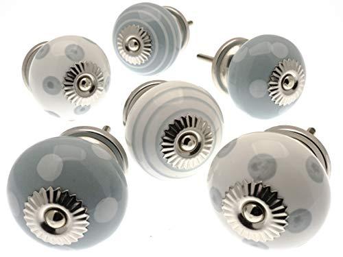 Vintage-Chic Gemischt Set mit Flüstern Grau & gebrochen weiß Keramik Schrankknöpfe x Pack 6 (MG-258) TM Produkt