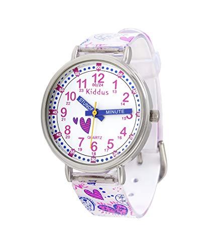 KIDDUS Lern Armbanduhr für Kinder, Jungen und Mädchen. Analoge Armbanduhr mit Zeitlernübungen, japanischen Quarzwerk, gut lesbar, um ganz leicht zu Lernen, die Uhr zu lesen. KI10320 Herz Griffe