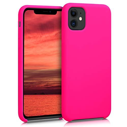 kwmobile Hülle kompatibel mit Apple iPhone 11 - Handyhülle gummiert - Handy Case in Neon Pink