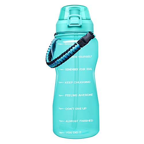 Giotto Large Half Gallon/64OZ Motivational Water Bottle with Paracord Handle & Removable Straw - Leakproof Tritan BPA Free Fitness Sports Water Jug with Time Marker-64OZ-Mint Green