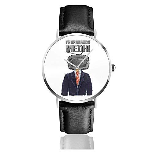 Unisex Propaganda Media TV Mann Pixel Art Uhren Quarz Lederuhr mit schwarzem Lederband