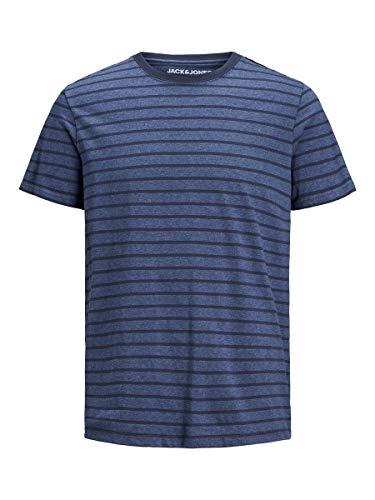 Jack & Jones JJESTRIPED tee SS Crew Neck STS Camiseta, Azul Vaquero, S para Hombre