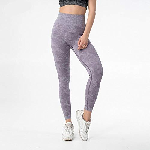 GYUGSD Leggings para Mujer Camuflaje Sin Costuras Sport Fitness Leggings Mujeres Stretchy High Waist Workout Gym Medias Squatproof Athletic Yoga Pants-Grey_Purple_S