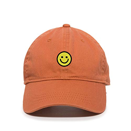 DSGN By DNA Smiley Face Baseball Cap Embroidered Cotton Adjustable Dad Hat Orange