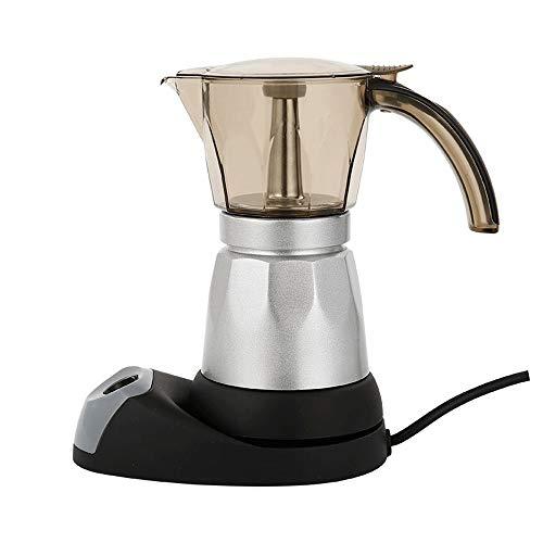 Qilo Moka espressomachine van acryl voor koffie – elektrisch koffiezetapparaat Moka transparant – voor koffie met volle lichaam, 6 kopjes (300 ml) espresso