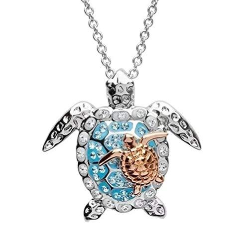 Gazaar - Collana con ciondolo a forma di tartaruga marina in oro rosa, con confezione regalo, con diamante e microintarsiato per la festa della mamma, gioiello