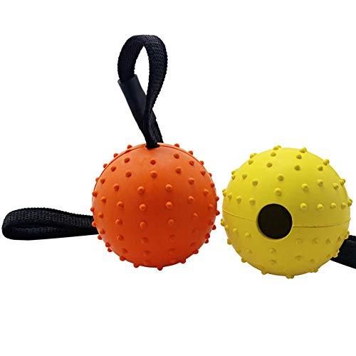 Vivifying Hundeball auf einem Seil, 2 Stück Interaktiver Naturkautschuk Hüpfball zum Apportieren, Fangen, Werfen und Ziehen des Krieges