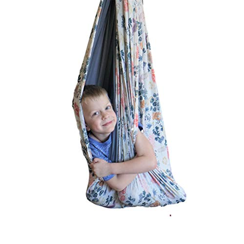 SENSORY4U Sensory Swing (Double Layered and Reversible Sloth Print or Gray Fabric) Indoor Therapy...