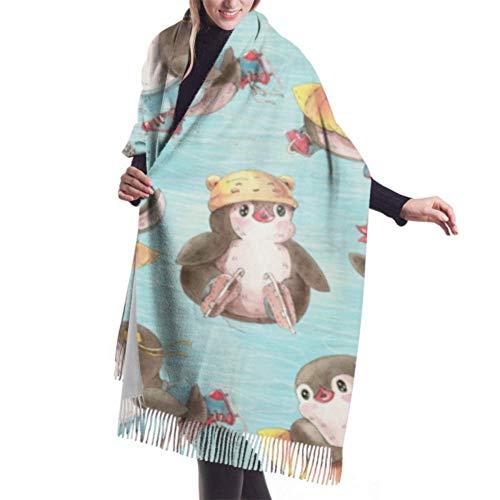 Joy Edward Pashmina Damen Umschlagtuch Kaschmirschal Warm Schal Schaltuch Stola Nette Pinguine auf Schlittschuhen 77x27 in
