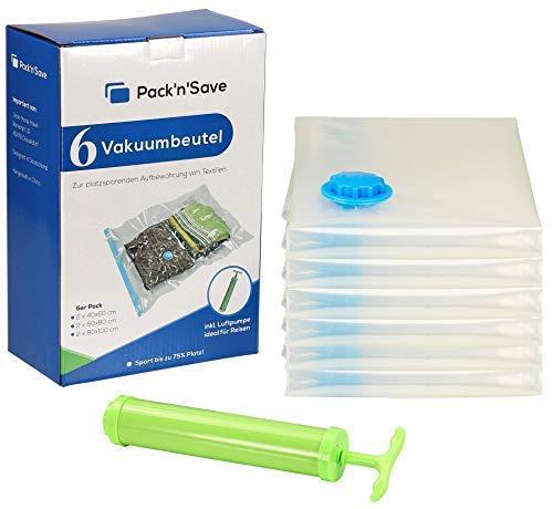 Pack'n'Save® Vakuumbeutel inkl. Handpumpe für Reisen/Aufbewahrungsbeutel für Kleidung in 3 verschiedenen Größen (groß 100x80 cm, mittel 80x60 cm, klein 60x40 cm) - 7er Set