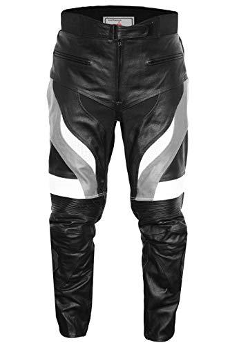German Wear, Motorradhose Motorrad Biker Racing Lederhose Schwarz/Grau, Größe:62/5XL