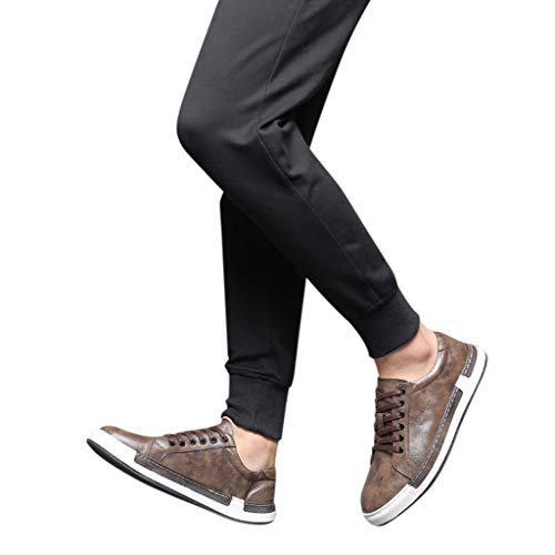 Dorical Herren Freizeit Schuhe, Männer Leder Business Anzugschuhe Halbschuhe Schnürer Oxford Derbys Lederschuhe Wasserdicht Flache Schnürhalbschuhe für Hochzeit Party Größe 38-48 (42 EU, Z1-Braun)