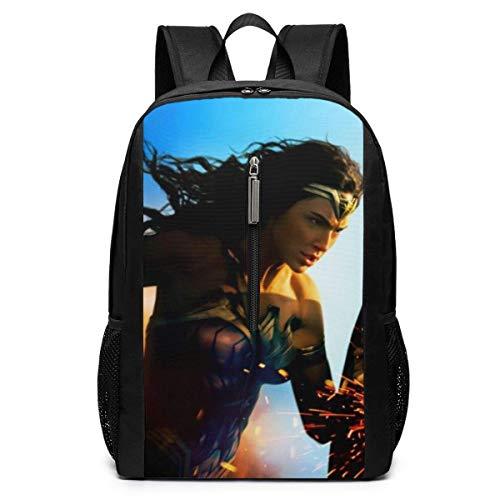 BAGGNICE Zaini Wonder Woman 17 Inch School Bag Backpack College Bag Laptop Backpack Large Capacity Backpack (Black)