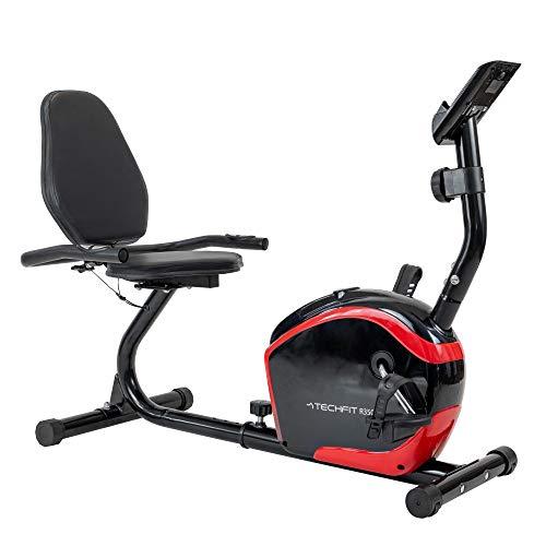 TechFit R350 Heimtrainer, halbliegend, magnetisch, mit Schwungrad, 8 kg, 8 Schwierigkeitsstufen und Rückenlehne, Schwarz und Rot