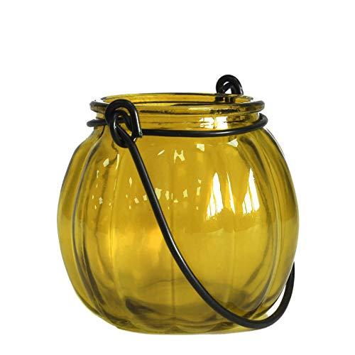 Linterna de calabaza en cristal reciclado–amarillo