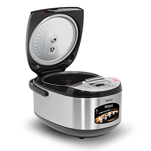 SOGO SS-10785 Olla eléctrica Programable con 11 modos de cocción, 35-180º C, 900 Vatios, 5 litros, Acero Inoxidable