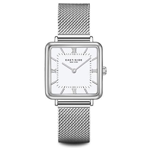 Eastside Reloj de pulsera analógico para mujer con mecanismo de cuarzo japonés y correa de acero inoxidable plateada 10080085