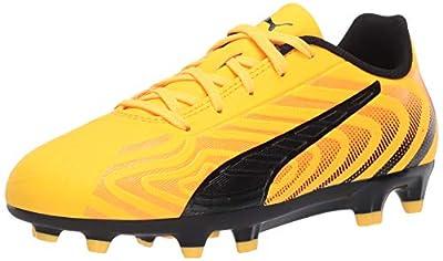 PUMA Unisex-Child One 20.4 Firm/Artificial Ground Soccer Shoe, Ultra Yellowpuma Blackorange Alert, 6.5 M US Big Kid