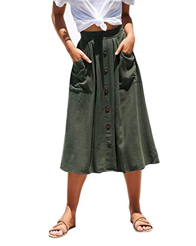Azue Womens A Line Midi Skirt Elastic Waist Front Button Casual Pleated Skirt with Pockets Army Green Large (fits Like US 10-12)