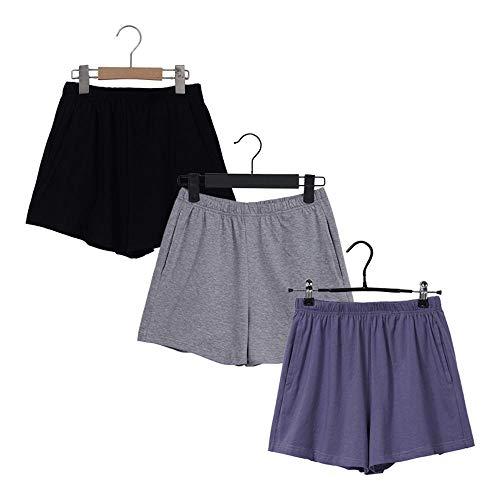 Pantalones Cortos de Spandex de algodón Suave Suelto Negro Azul Casual Running Verano Mujeres Bolsillos Pantalones Cortos Ropa de Entrenamiento más tamaño